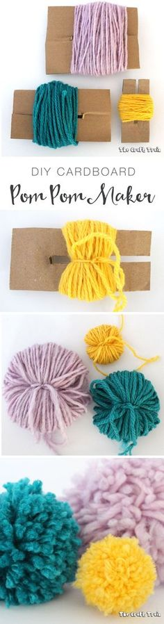 Cats Toys Ideas - Easy DIY cardboard pom pom maker - Ideal toys for small cats Kids Crafts, Diy And Crafts, Arts And Crafts, Quick Crafts, Pom Pom Crafts, Yarn Crafts, Crochet Projects, Diy Projects, Knitting Projects