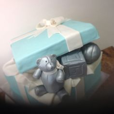 Tiffany box cake, baby toys, fondant, pewter bear,block with baby's initial , rattle, by #leticiasconfections