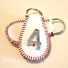 The Original Baseball Keychain - genuine leather - Metal Numbers Baseball Boys, Baseball Party, Baseball Season, Baseball Stuff, Baseball Clothes, Baseball Girlfriend, Baseball Tickets, Softball Decorations, Softball Crafts