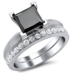 2.50 Ct Black Princess Cut Sim Diamond Engagement Bridal Set Ring 14K Gold #Jewelsbyeanda #Solitaire #EngagementWeddingAnniversaryPromise