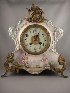 L. Marti Blue Porcelain Mantel Clock c. 1890′s