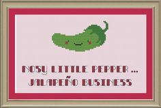 Nosy little pepper ... jalapeno business: funny cross-stitch pattern. $3.00, via Etsy.
