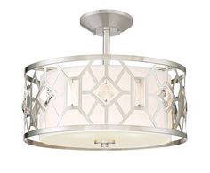 Brentwood Semi-Flush Satin Platinum Finish White Linen Shade w/Faceted Crystal Accents #90111-SP