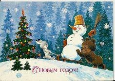 Rabbit, bear and snowman on sledge - Vintage Russian Postcard