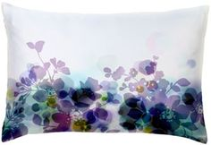 """digitally printed silk florine pillow, designed and manufactured in paris. backed in natural linen, with hidden zipper closure. dry clean only. 12"""" x 18"""". $125"""