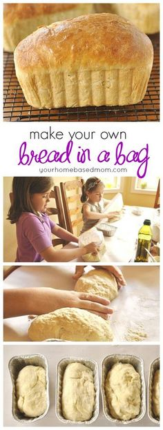 Kids Meals Kids will love making their own bread in a bag! Great activity to do before school starts. - Making Bread in a Bag is going to become a favorite activity! Little kids and big kids alike will love making their own loaf of bread. Bread In Bag, Bread In A Bag Recipe, Simple Bread Recipe, Easy Homemade Bread, Homemade Recipe, How To Make Bread, Food To Make, Fun Foods To Make, Good Food