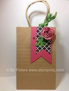 Do you ever get home and then remember - OMG, I need a gift for my co-worker tomorrow.  That was my predicament today.  Fortunately, stamping a few cards to put in a cute little bag is a favorite gift for my co-workers.  Here's the gift bag made with the Banners framelits and Spiral flower die.  Details here;  http://stampinbj.com/ohhhh-lala  Supplies available through BJ Peters, Stampin' Up!