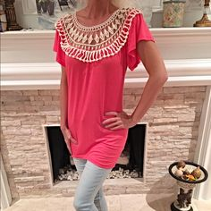 Pretty pink lace inset blouse with flutter sleeves Bright Pink fitted lace top blouse with flutter sleeves beautiful back lace detail! Tops