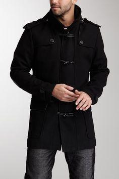 X-Ray Black Toggle-and-Loop Long Coat