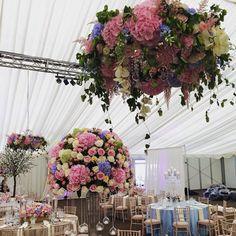 Wedding flowers chandelier decor