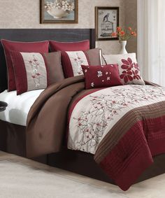 Another great find on #zulily! Red Sakura Embroidered Comforter Set by Geneva Home Fashions #zulilyfinds