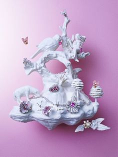 """From afar, Beth Katleman's three-dimensional porcelain """"wallpapers"""" evoke the rococo opulence of 18th-century Versailles—toile de Jouy brought to life."""