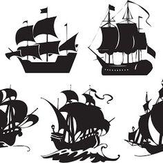 Navios e Caravelas Vetorizados