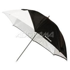 "Westcott 60"" Optical White Satin Umbrella with Removable Black Cover - Fiberglass Frame"