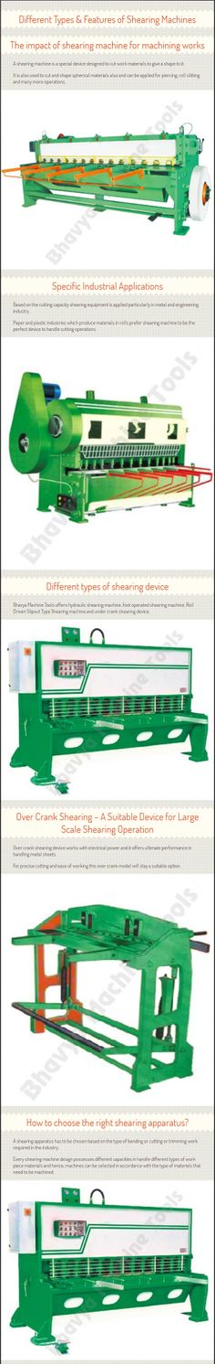 Find out what is special in shearing machine and learn about the machining properties that can be achieved with shearing device. Find out the types of shearing machines offered by http://www.bhavyamachinetools.com/shearing-machine.html and find out its significance   Bhavya Machine Tools offers hydraulic shearing machine, foot operated shearing machine, Roll Driven Slip out