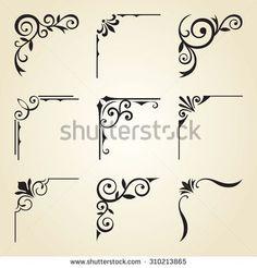 Vector illustration of decorative corner frame set. - - Vector illustration of decorative corner frame set. Wood Burning Crafts, Wood Burning Patterns, Wood Burning Art, Stencil Patterns, Stencil Art, Stencil Designs, Tangle Patterns, Stenciling, Painting Patterns