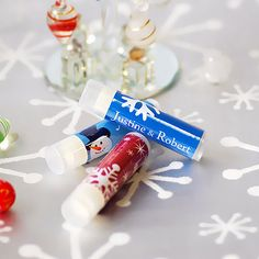 Winter Delights. Your guests will combat chapped lips in style this year with personalized lip balm.
