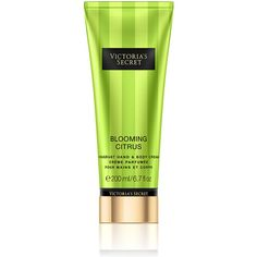 Victoria's Secret Blooming Citrus Fragrant Hand & Body Cream ($18) ❤ liked on Polyvore featuring beauty products, bath & body products, body moisturizers, green and body moisturizer