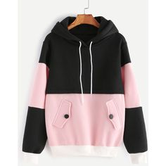 SheIn offers Color Block Drawstring Hooded Sweatshirt & more to fit your fashionable needs. Fashion Mode, Korean Fashion, Fashion Outfits, Belted Shirt Dress, Tee Dress, Fleece Hoodie, Hooded Sweatshirts, Cotton Hoodies, Pink Hoodies