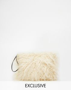 Image 1 of Story of Lola Faux Mongolian Fur Clutch in Cream