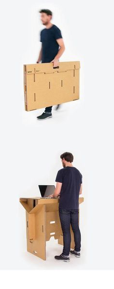 The cardboard standing desk can be folded up and carried
