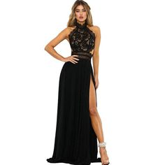 e5ef75a4e Ziamonga Sexy Split Lace Maxi Dress Women Elegant Summer Solid Halter Off  Shoulder Long Dresses Form Party Vestido De Festa