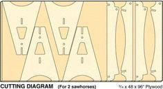 Knockdown Sawhorses: Cutting Diagram
