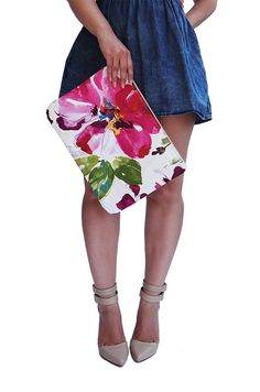 Watercolour Floral Oversized Clutch Purse in Fushia Pink, Computer Case, Gifts For Her, Resort Travel Bag, Summer Handbag, Spring Accessory