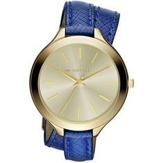 A large round goldtone dial is decorated with simple yellow goldtone hands and indices to form this contemporary women's Runway watch.