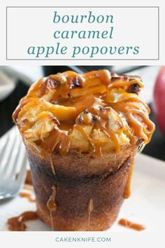 Bourbon Caramel Apple Popovers are THE dessert of the fall. Creamy bourboncaramel tops easy-to-make apple popovers to end your meal with a boozy seasonally sweet note. | cakenknife.com #breakfastrecipe #dessertpopovers