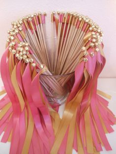wedding ribbon wands, double ribbons with bells