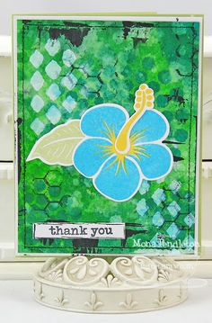 Tropical Sensations; Distressed Background Blocks; Just My Type; Tropical Sensations Die-namics; Graduated Diamonds Stencil - Mona Pendleton
