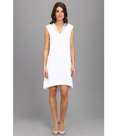 Calvin Klein V-Neck 4 PLY Dress w/ Chiffon