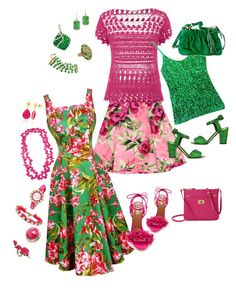 """""""Floral fun in pink & green"""" by chrystalmcwill on Polyvore featuring Love Moschino, maurices, Giuseppe Zanotti, Aquazzura, Lauren Ralph Lauren, Kate Spade, Ettika, Betsey Johnson, Trina Turk and Chanel"""