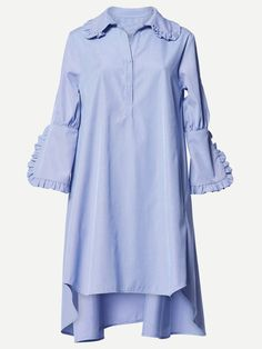 This **Romance Was Born** Concerto Frill Shirt Dress features ruffle details at the collar and sleeves, a high-low hem, and elongated three-quarter-length cuffs. Frill Shirt, Collared Shirt Dress, Blue Shirt Dress, Ruffle Shirt, Ruffle Collar, Ruffle Sleeve Dress, Long Sleeve Shirt Dress, Sleeve Dresses, Dress Long