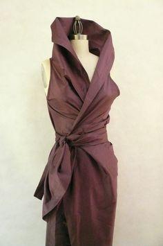 Maria Severyna in Dusty Mauve Color Dupioni Wrap Dress