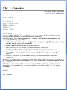advertising account executive cover letter sample - Cover Letter Account Executive