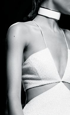 Geometric fashion details with graphic lines & texture paired with a white choker - Balmain Spring 2015...x