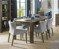 Bentley Designs Turin Dark Oak Large Extension Dining Table With 6 Low Back  Upholstered Chairs #