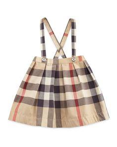 Z1LVZ Burberry Sofia Pleated Check Skirt w/ Suspenders, Tan, Size 3M-3