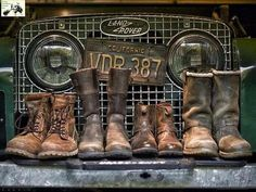Land Rover Series One with family of Timberland boots. Land Rover Serie 1, Land Rover Defender 110, Landrover Defender, Adventure Boots, Best 4x4, Expedition Vehicle, Land Rover Discovery, Range Rover, Timberland Boots
