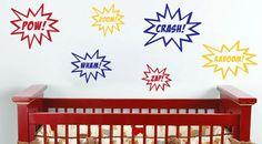 Wall Vinyl  - Comic Burst Superhero Decals. $5.00, via Etsy.