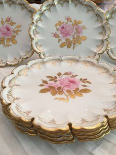 7 Rare Antique Copeland Spode Botanical Dinner Plates, Hand Painted Pink Roses, Fluted Edge, Gold Leaves And Trim, Circa 1900 1909 Antique Dishes, Antique Plates, Vintage Plates, Vintage Dishes, Vintage China, Rare Antique, Red Plates, China Plates, China Patterns