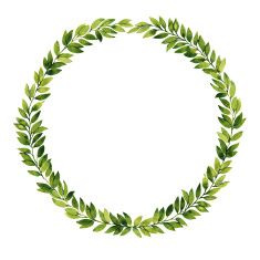 Green leaf watercolor isolated wreath illustration