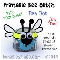 Free Printable Bee Outfit for your Ozobot.  Use it with printable spelling games on Daniellesplace.com - www.daniellesplace.com
