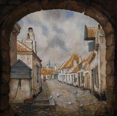 In 1916 is de Teut een armoedig volksstraatje, net buiten het oude centrum van Amersfoort.  Hoewel het op het moment dat hij dit grote olieverf maakt gesaneerd is, schildert Pieck het zoals hij het zich uit die tijd herinnert. DeTeut, Amersfoort, 1987. Olieverf, 125x125cm