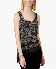 Inc International Concepts Embellished Printed Asymmetrical-Hem Tank Top, Only at Macy's