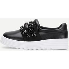 4dfa0a74a99 SheIn(sheinside) Rhinestone Design Slip On Sneakers (245 DKK) ❤ liked on  Polyvore featuring shoes