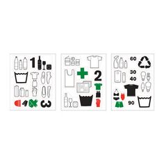 IKEA - DALLIDEN, Decoration stickers, Use the 30 self-adhesive stickers to label storage boxes and waste sorting bins and make it easier to sort and organise your clothes, shoes and household waste.Motif created by Sissi Edholm and Lisa Ullenius.