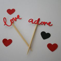 Share the love with these adorable cupcake toppers! Perfect for Valentine's Day and weddings. Sold in packs of six (three of each word) and available in red. Please email me at admin Happy Birthday Banners, Birthday Cakes, Share The Love, Paper Design, Cupcake Toppers, Valentines Day, Weddings, Red, Baking